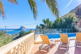 Beautiful and comfortable villa with private pool in Calpe for 4 persons, to spend some wonderful holidays in Spain with family, friends and also your pets. The villa is situated in a hilly and residential area and at 3 km from Playa Arenal Bol beach, Calpe