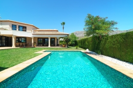 Beautiful large luxury villa, in Denia (Beniarbeig), Costa Blanca, Spain for up to 4 people with private pool.This very private villa is located in an urban area surrounded by hills, close to restaurants and bars, from various terraces of the villa y, Denia