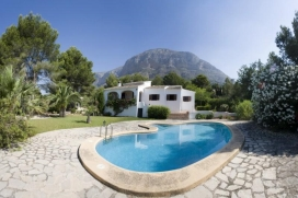 Traditional Spanish holiday villa with pool and WIFI in quiet area in Javea, Costa Blanca for up to 6 people.Casa Pia a 3 bedroom villa is set in a quiet wooded area with a lovely covered terrace, private pool and beautiful mature gardens with plenty of room for the children to play - a wonderful setting for a relaxing holiday.There is a small supermarket and several restaurants close by and the charming village of Javea is just 3.5 km away with a daily covered market, lovely cobbled streets, shops, restaurants and a weekly Thursday markets. A golf course and the busy sandy beach area of the Arenal are both only 7 km away., Javea