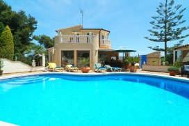 Holiday rental villa with seaview and private swimming pool for up to 6 people. Villa with partial seaview situated on 2 independent levels in a quiet residential area of Javea on the Costa Blanca. The beautifulgarden has several private areas for su, Javea