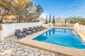 Modern and comfortable villa in Moraira, on the Costa Blanca, Spain with private pool for 10 persons. The villa is situated in a hilly, wooded and residential area and at 2 km from Playa L'Ampolla beach. The villa has 5 bedrooms and 3 bathrooms, spre, Moraira