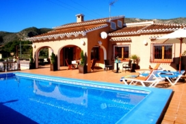 Villa    with private pool, in Teulada, Costa Blanca, Spain for a maximum of 14 persons.This villa is situated  in a  hilly area. The accommodation has a garden with gravel and trees and  views of  the valley and the mountains.The vicinity of places , Teulada